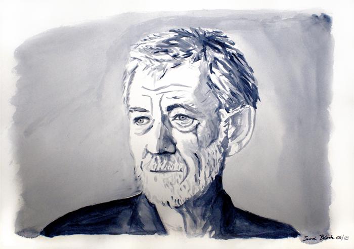 Portrait of actor Ian McKellen, 2009 (acrylic paints on paper)